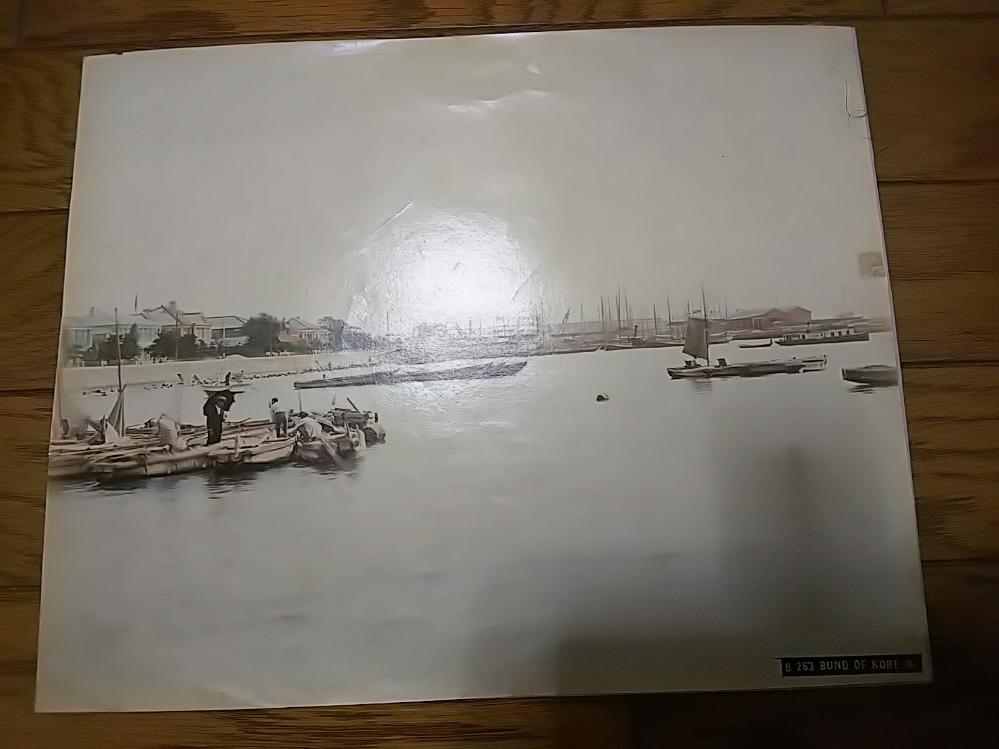 神戸港鶏卵紙古写真手彩