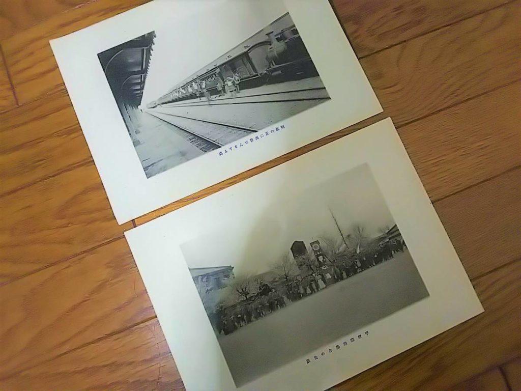 【古写真の調査後売却】甲府駅舎と蒸気機関車の風景