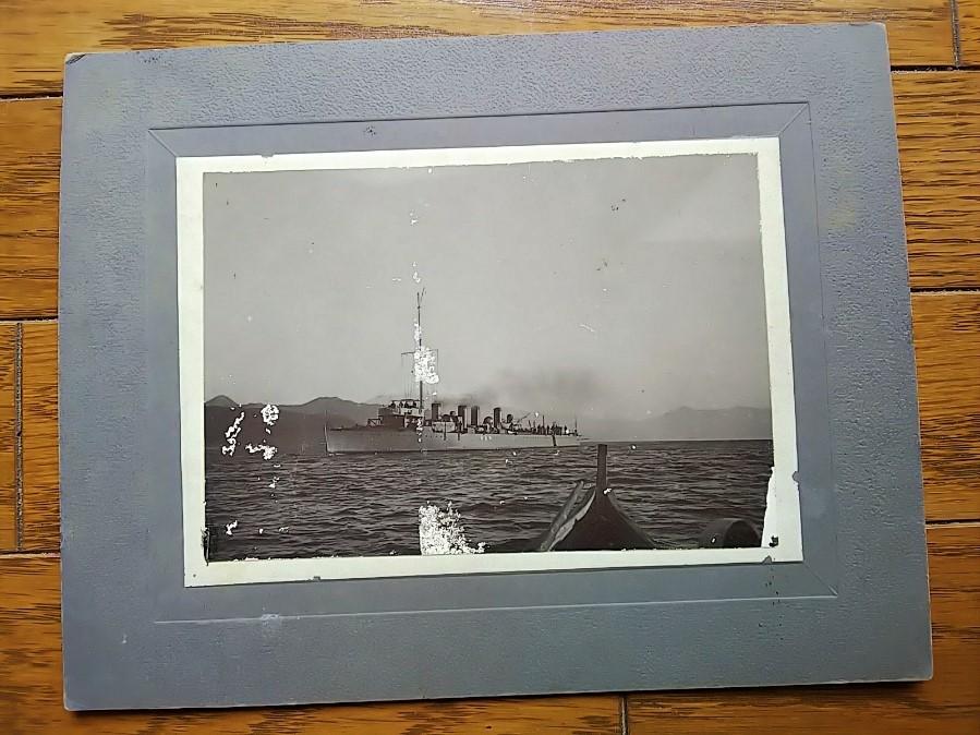 板垣征四郎所有の初代神風型駆逐艦・弥生写真師台紙鶏卵紙